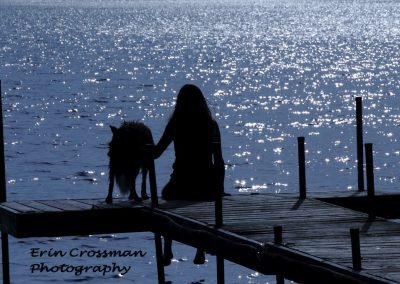 dock-lake-woman-dog